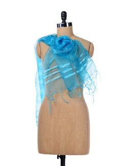 Blue Stripes Tissue Dupatta - SONJATO SEN