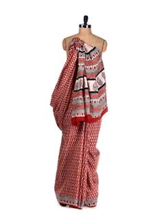 Ethnic Handblock Print Saree - Nanni Creations
