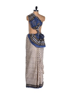 Indigo Blue Hand Block Print Saree - Nanni Creations