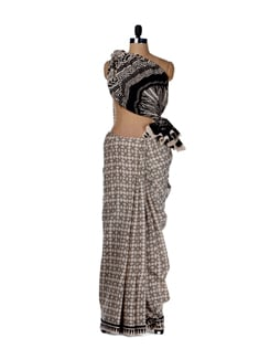 Arty Hand Block Print Saree - Nanni Creations