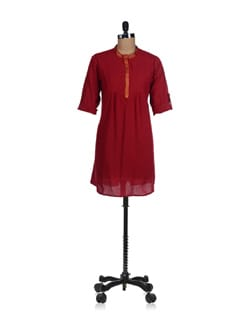 Classic Red And Gold Kurti-Shirt - Fami India