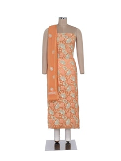 Light Orange Unstitched Chikankari Suit - Ada