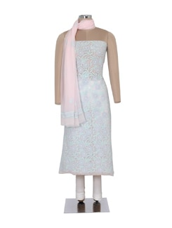 Light Pink & Blue Unstitched Chikankari Suit - Ada