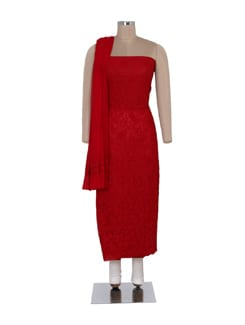 Elegant Red Unstitched Chikankari Suit - Ada