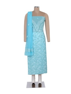 Sky Blue Unstitched Chikankari Suit - Ada