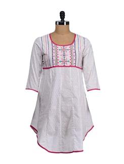 White & Pink Embroidered Asymmetric Kurta - SATTYAA