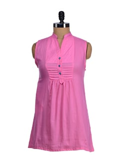Sleeveless Pink Short Kurti - SATTYAA