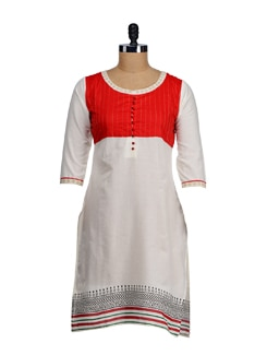 Elegant Off-white & Orange Kurta - SATTYAA