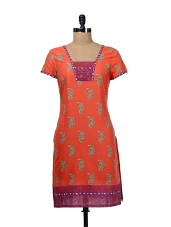 Tangy Orange Printed Kurta - Aurelia