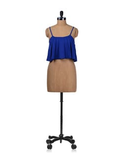 Electric Blue Fun Flare Crop Top - Miss Chase