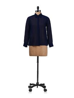 Prussian Blue Stylish Sheer Shirt - Miss Chase