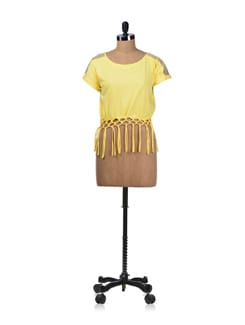 Knotty Yellow Crop Top - Miss Chase
