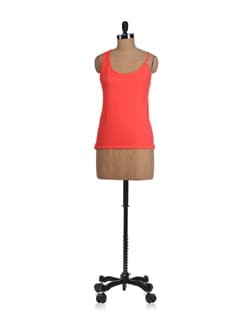 Coral Asymmetric Strap Top - Miss Chase