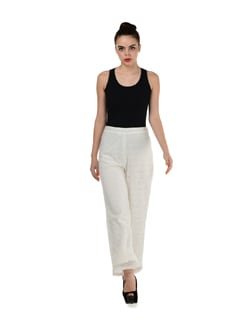 Lace White Trousers - Miss Chase