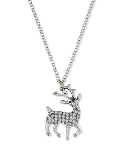 Silver Reindeer Pendant Necklace - Miss Chase