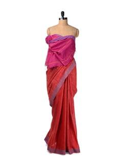Candy Red Hand Printed Tussar Silk Saree - Creative Bee