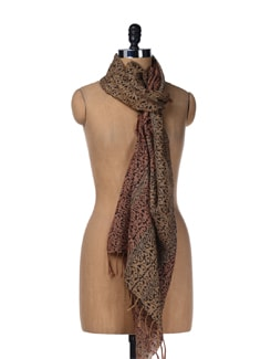 Peach-brown Bamboo Engraving Tussar Stole - Creative Bee