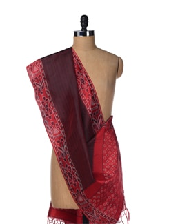 Striped Red Ikat Silk Stole - Creative Bee