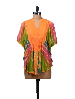 Orange Tie Dye Kaftan Top - MOTHER EARTH