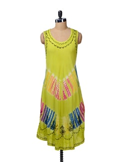 Lime Green Tie Dye Beach Tunic - MOTHER EARTH