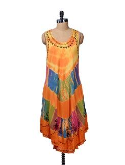 Orange Tie Dye Beach Tunic - MOTHER EARTH