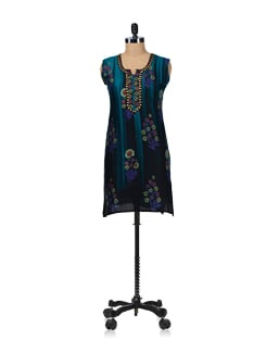 Elegant Teal Blue Embroidered Kurta - WILD WOMAN