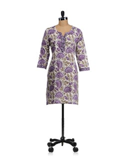 White & Purple Block Printed Kurta - WILD WOMAN