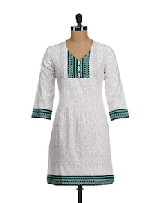 White & Green Printed Yoke Kurta - WILD WOMAN