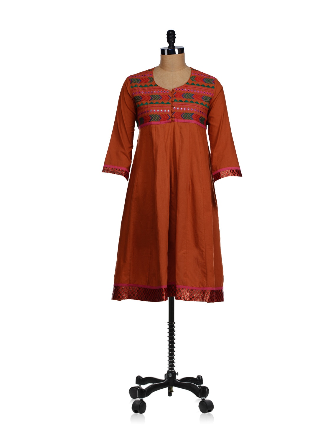 Flared Phulkari Yoke Kurta - WILD WOMAN