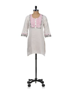 White & Pink Printed Yoke Kurta - WILD WOMAN
