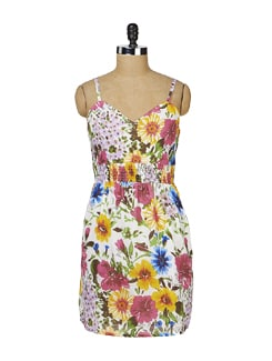 Strappy Multicoloured Floral Dress - MARTINI