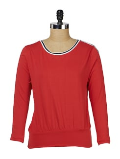 Red Round Neck Top - MARTINI