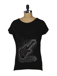 Black Blingy Guitar Top - MARTINI