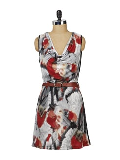 Printed Black & Red Cowl Neck Dress - MARTINI