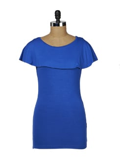 Blue Overlapped Collar Top - MARTINI