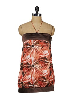 Red & Brown Printed Halter Top - MARTINI