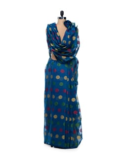 Blue Polka Supernet Cotton Silk Saree - Bunkar