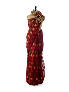 Maroon Supernet Cotton Silk Saree - Bunkar