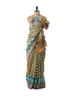 Blue-Green Designer Dhoop Chaon Saree - Bunkar