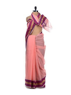 Peach Organza Silk Striped Saree - Bunkar