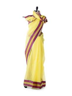 Yellow Organza Silk Striped Saree - Bunkar