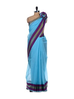 Sky Blue Organza Silk Striped Saree - Bunkar