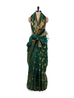 Green Georgette Silk Zari Work Saree - Bunkar