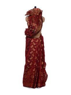 Maroon Zari Woven Georgette Silk Saree - Bunkar