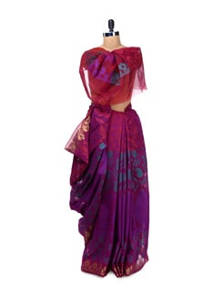 Fancy Magenta Georgette Silk Saree - Bunkar