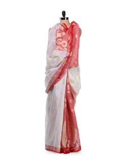 Traditional White & Red Cotton Silk Saree - Bunkar