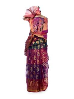 Zari Woven Blue Organza Silk Saree - Bunkar