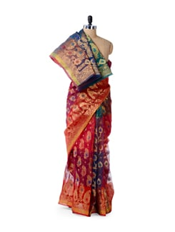 Zari Woven Red Organza Silk Saree - Bunkar