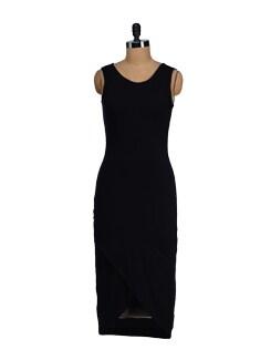 Black Rounded Hem Bodycon Dress - Femella