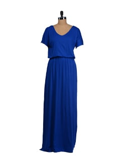 Blue Jersey Maxi Dress - Femella